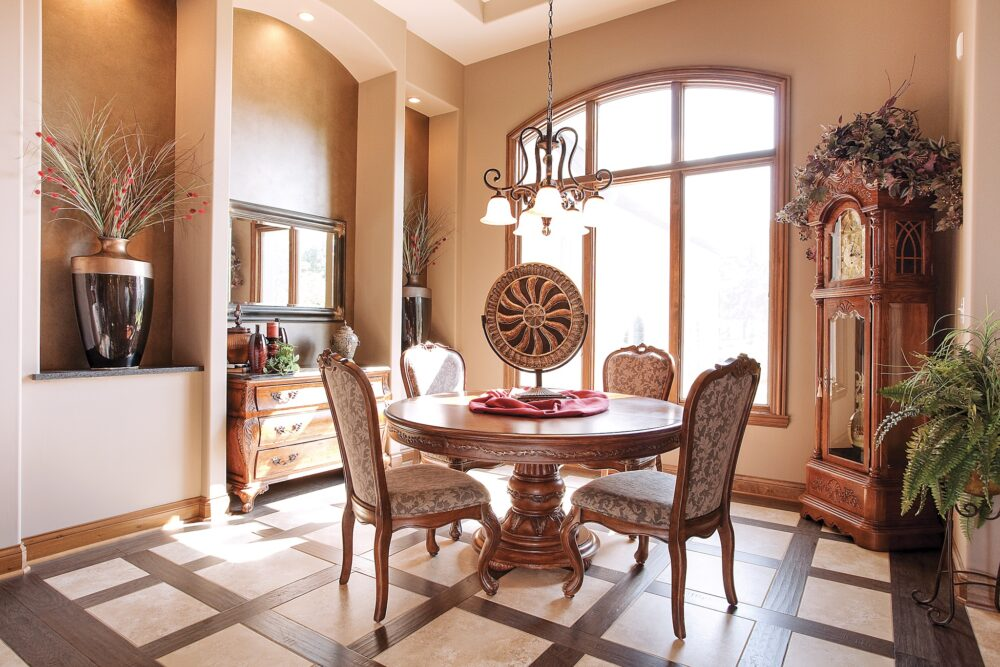 Dining room with wood/tile floor squares