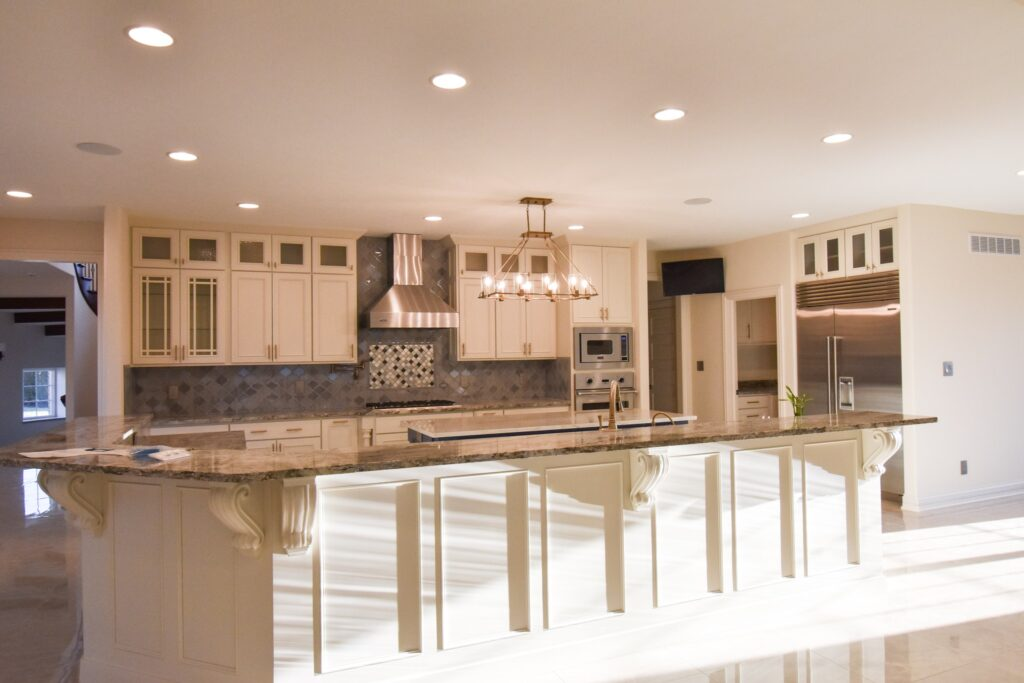 kitchen with all cream colored cabinetry