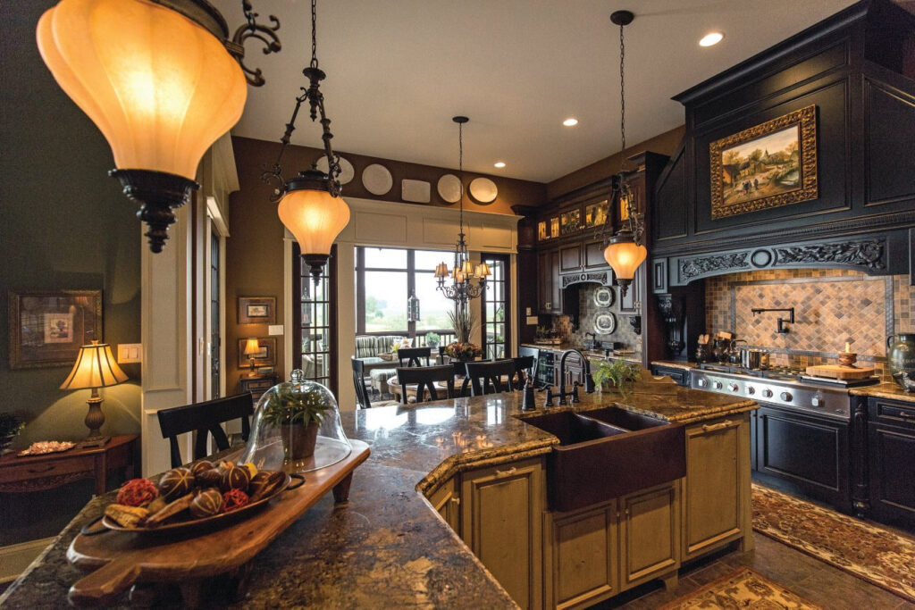 kitchen with dark colors and tan cabinets