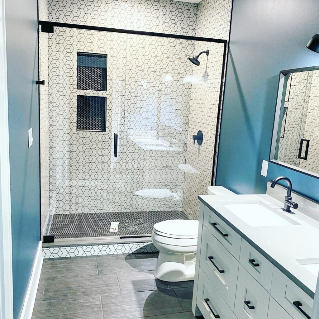 bathroom with white cabinets and blue walls