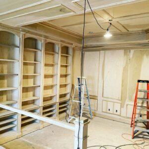 built in shelves on in progress home